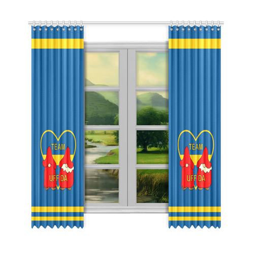 "Team Uff Da Swedish Uff Da Gnomes Tomte Nisser 2 Window Curtain 50""x108""(Two Piece)"
