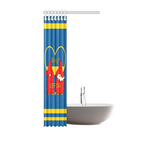 "Dirty Swedish Uff Da Gnomes Tomte Nisser Shower Curtain 36""x72"""
