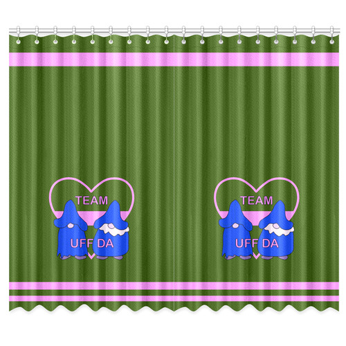 "Team Uff Da Gnomes Tomte Nisser Green Pink Blue Window Curtain 50""x84""(Two Piece)"
