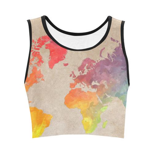 world map Women's Crop Top (Model T42)