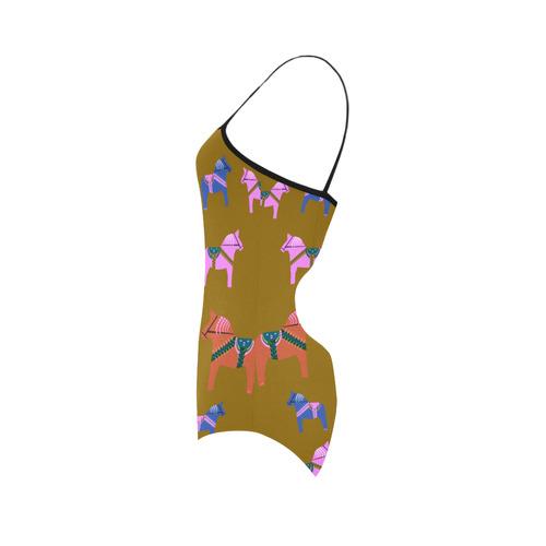 Dala Horse Awesome Decorative Folk Art Strap Swimsuit ( Model S05)