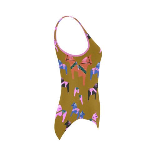 Dala Horse Folk Art Decorative Vest One Piece Swimsuit (Model S04)