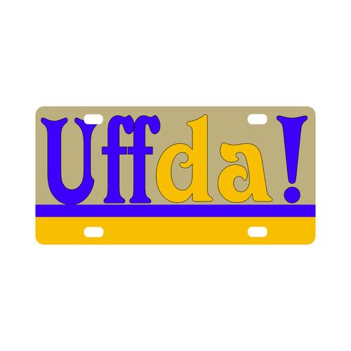 UFF DA Yellow Blue Swedish Classic License Plate