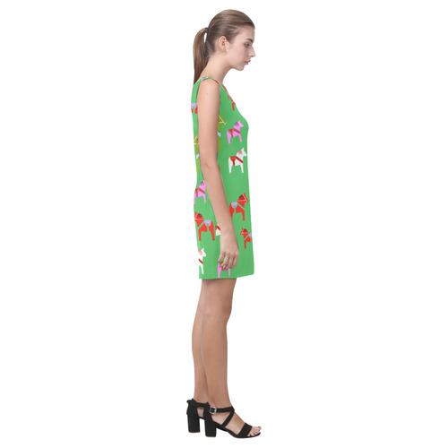 Dala Horses Cute and Decorative Folk Art Style Medea Vest Dress (Model D06)