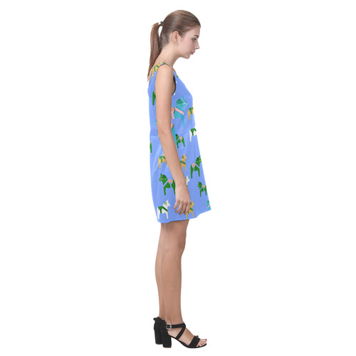 Dala Horses Cute and Decorative Folk Art Style Helen Sleeveless Dress (Model D10)