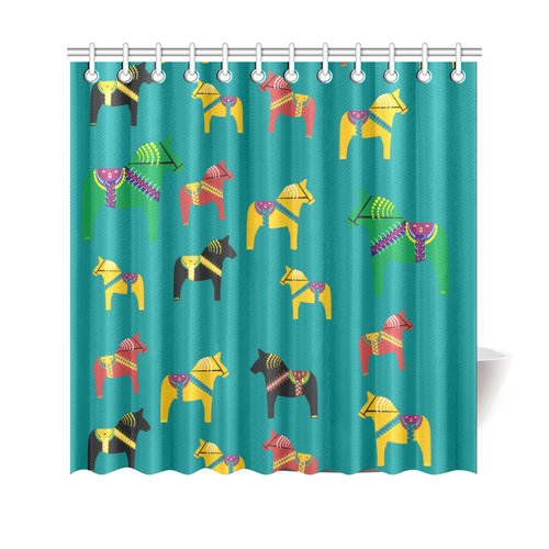 "Dala Horses Cute and Decorative Folk Art Style Shower Curtain 69""x70"""