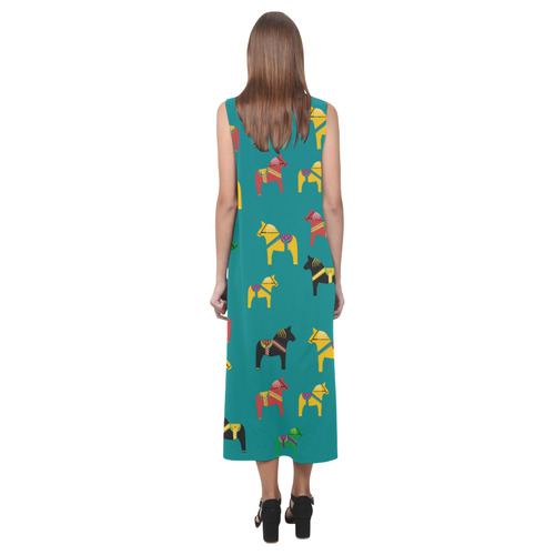 Dala Horse Cute Swedish Folk Art Style Phaedra Sleeveless Open Fork Long Dress (Model D08)