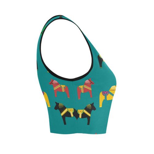 Dala Horse Folk Art Cute Decorative Women's Crop Top (Model T42)