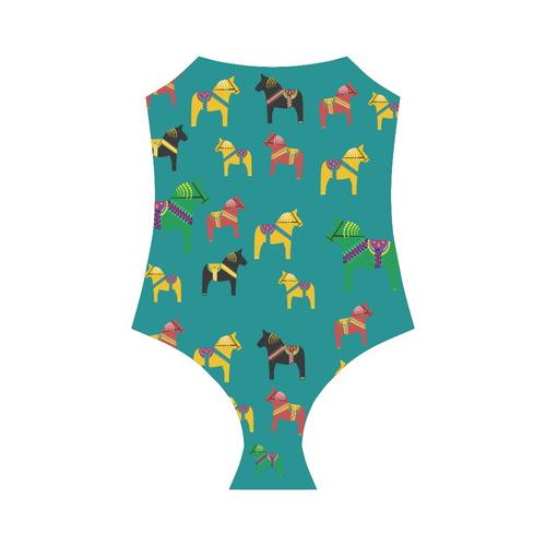 Dala Horse Charming Swedish Folk Art Strap Swimsuit ( Model S05)