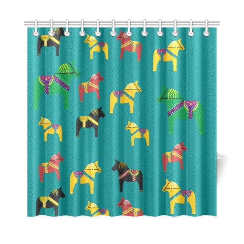 "Dala Horses Cute and Decorative Folk Art Style Shower Curtain 72""x72"""