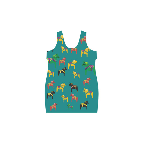 Dala Horses Cute and Decorative Folk Art Style Helen Sleeveless Dress (Model D10)