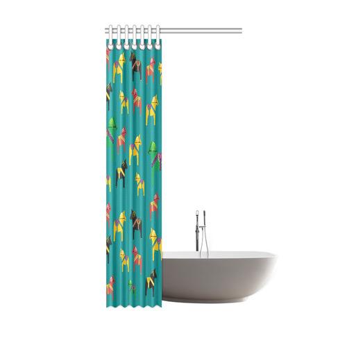 "Dala Horses Cute and Decorative Folk Art Style Shower Curtain 36""x72"""