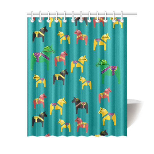 "Dala Horse Friends Family Shower Curtain 60""x72"""