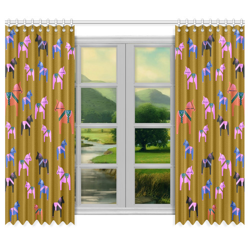 "Dala Horse Friends Family Window Curtain 50""x84""(Two Piece)"