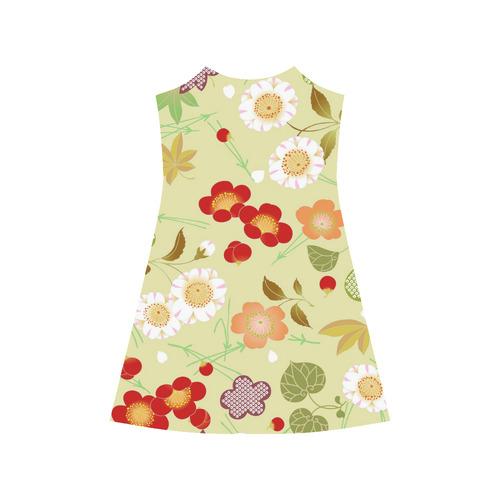 Red Sakura Japanese Cherry Blossom Alcestis Slip Dress (Model D05)