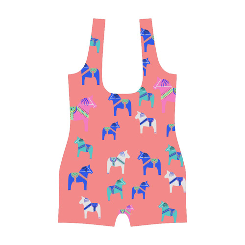Dala Horse Scandinavian Folk Art Style Classic One Piece Swimwear (Model S03)