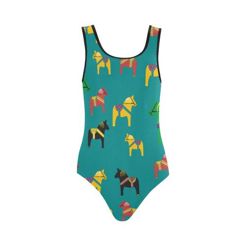 Dala Horse Scandinavian Folk Art Decorative Vest One Piece Swimsuit (Model S04)