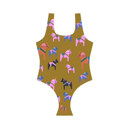 Dala Horse Folk Art Decorative Vest One Piece Swimsuit (Model S04)