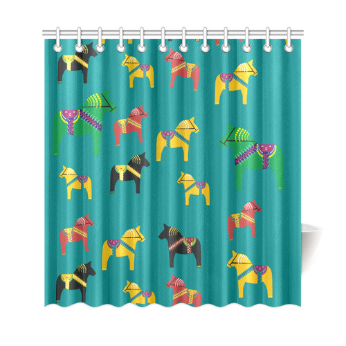 "Dala Horses Cute and Decorative Folk Art Style Shower Curtain 69""x72"""