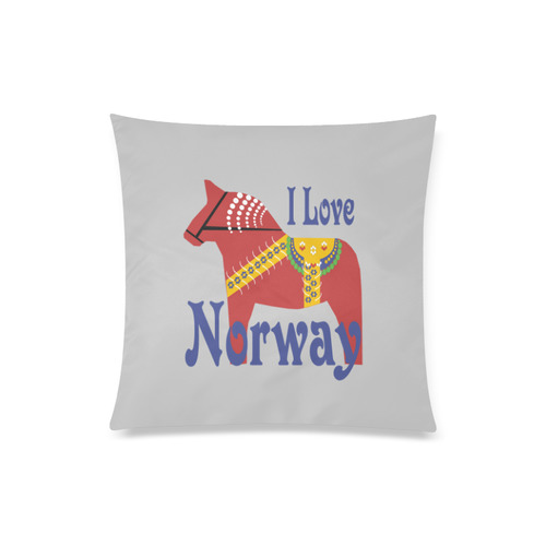 "Dala horse I Love Norway Custom Zippered Pillow Case 20""x20""(Twin Sides)"
