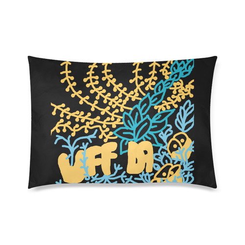"Uff Da Tangle Garden Flowers Yellow Peach Blue Black Custom Zippered Pillow Cases 20""x30"" (one side)"