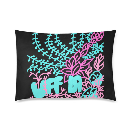"""Uff Da Tangle Garden Flowers Blue Pink Black Custom Zippered Pillow Cases 20""""x30"""" (one side)"""