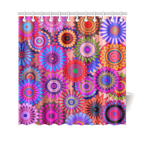"""Funky flowers color Shower Curtain 69""""x70"""""""