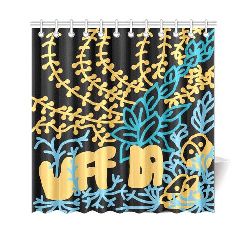 """Uff Da Tangle Garden Peach Yellow Blue Black Shower Curtain 69""""x70"""""""