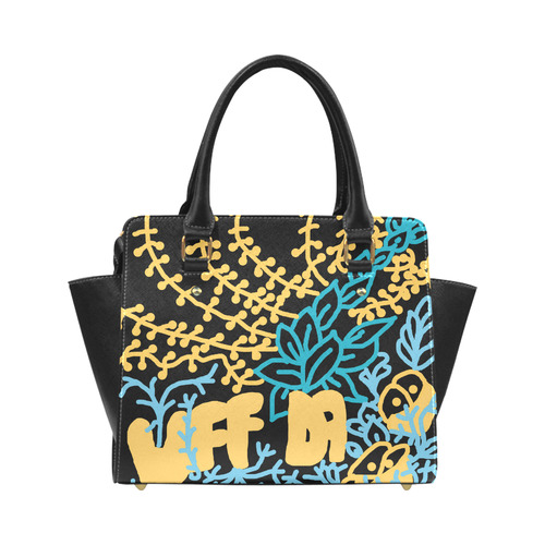 UFFDA Tangle Garden Blue Yellow Black Classic Shoulder Handbag (Model 1653)
