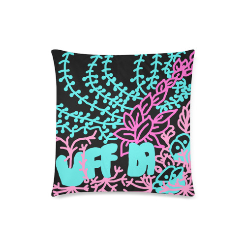 "Uff Da Tangle Garden Black Pink Blue Custom Zippered Pillow Case 18""x18""(Twin Sides)"