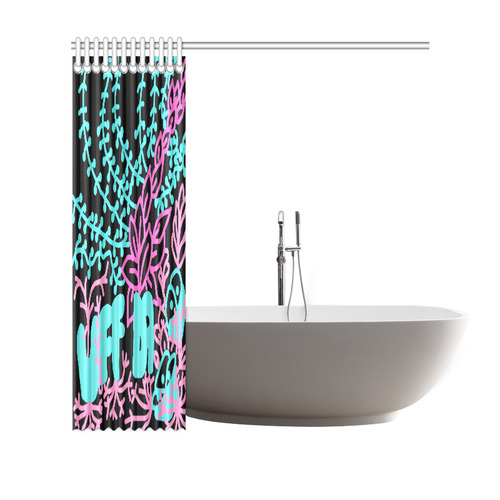 "Uff Da Tangle Garden Pink Blue Black Shower Curtain 69""x70"""