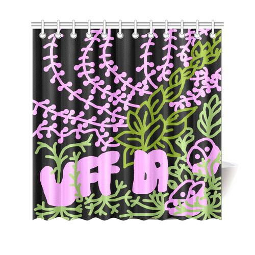 """Uff Da Tangle Garden Pink Green Black Shower Curtain 69""""x70"""""""
