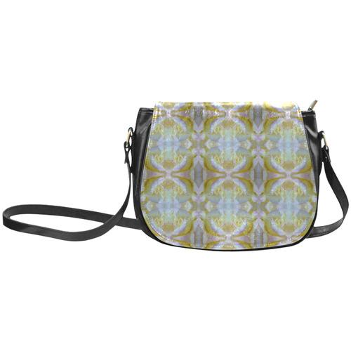 White Yellow  Pattern Classic Saddle Bag/Large (Model 1648)