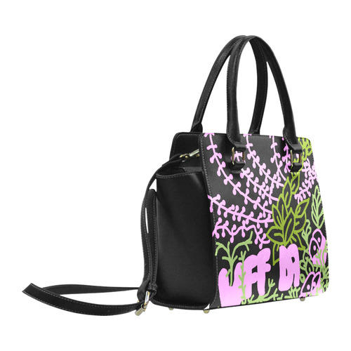 UFFDA Tangle Garden Pink Green Black Classic Shoulder Handbag (Model 1653)