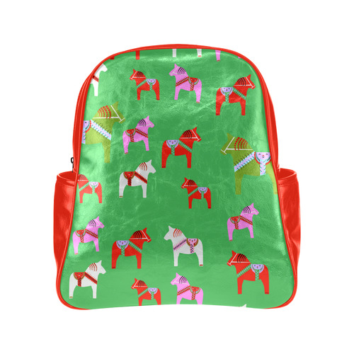 Dala Horses Decorative and Cute Christmas Edition Multi-Pockets Backpack (Model 1636)