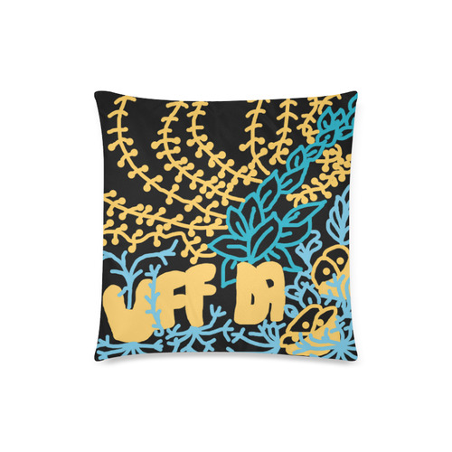 """Uff Da Tangle Garden Black Yellow Blue Custom Zippered Pillow Case 18""""x18""""(Twin Sides)"""
