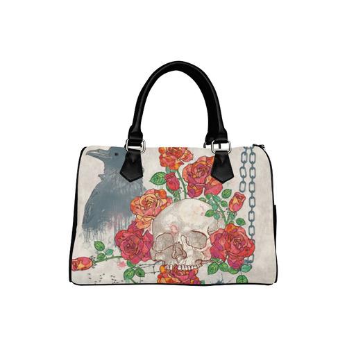 watercolor skull and roses Boston Handbag (Model 1621)