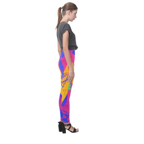 Groovy Paint Brush Strokes with Music Notes Cassandra Women's Leggings (Model L01)