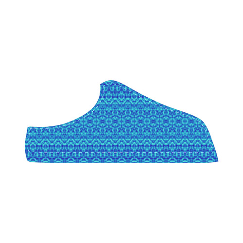 Blue Abstract Damask Men's Chukka Canvas Shoes (Model 003)