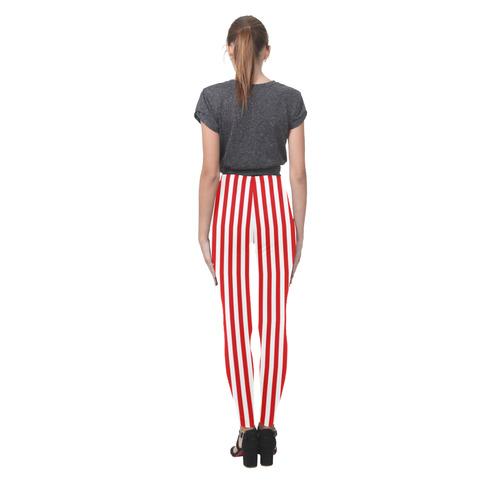 Red and White Stripes Cassandra Women's Leggings (Model L01)