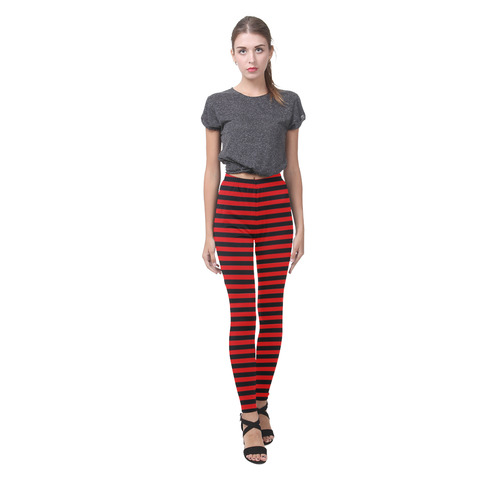 Red and Black Stripes Cassandra Women's Leggings (Model L01)