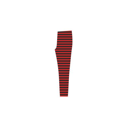 Red and Black Stripes Cassandra Women's Leggings (Model L01)