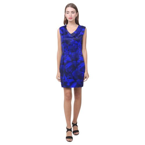 A202 Blue Peaks Abstract Phoebe Sleeveless V-Neck Dress (Model D09)