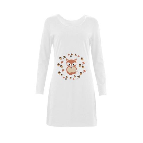 Fox in autumn Demeter Long Sleeve Nightdress (Model D03)