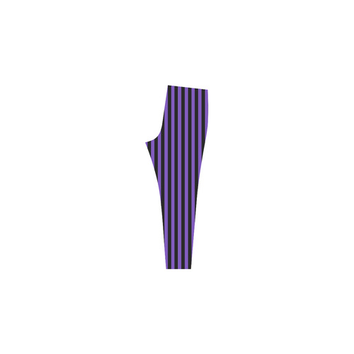 Purple and Black Stripes Cassandra Women's Leggings (Model L01)