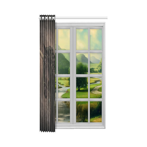 "Dreamy Unicorn with brown grunge background New Window Curtain 52"" x 84""(One Piece)"