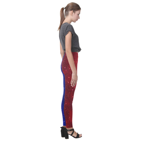 Sparkle Red and Blue Cassandra Women's Leggings (Model L01)