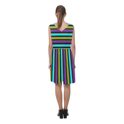 retro stripe 1 Chryseis Sleeveless Pleated Dress(Model D07)