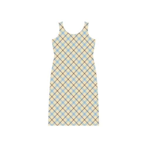 Plaid 2 Phaedra Sleeveless Open Fork Long Dress (Model D08)