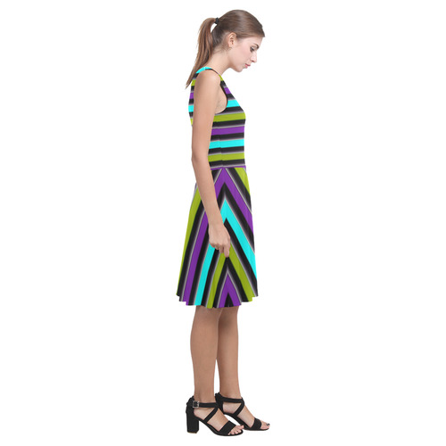 retro stripe 1 Atalanta Casual Sundress(Model D04)